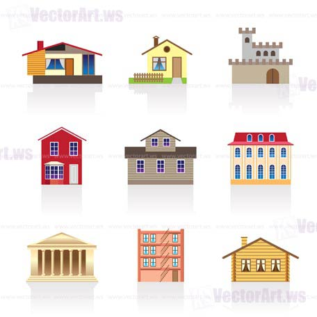 Different kind of houses and buildings vector for Pictures of different homes