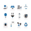 Ecology, power and energy icons - vector icon set