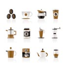coffee industry signs and icons - vector icon set