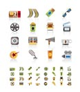 Cinema and Movie - vector icon set  - 3 colors included