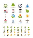 Realistic  Ecology icons -vector icon set- 3 colors included