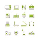 Computer equipment and periphery icons - vector icon set