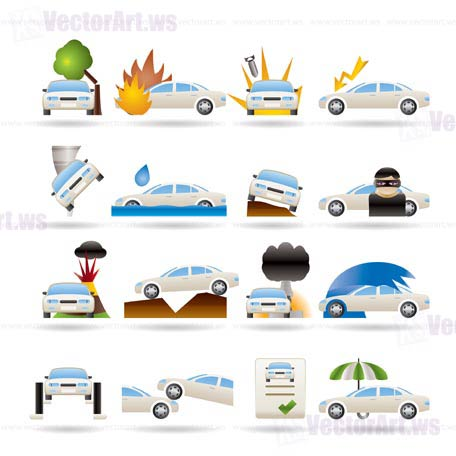 car and transportation insurance and risk icons - vector icon set