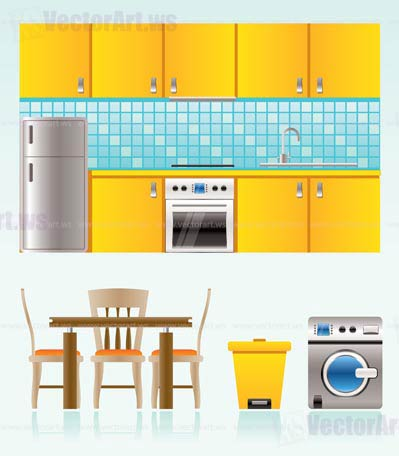 kitchen objects furniture and equipment vector illustration Kitchen Objects Furniture And Equipment Vector Illustration Kitchen Vectors Free