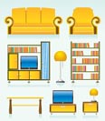 living room objects, furniture and equipment - vector illustration