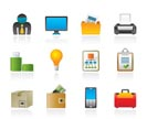 Business and office equipment icons - vector icon set