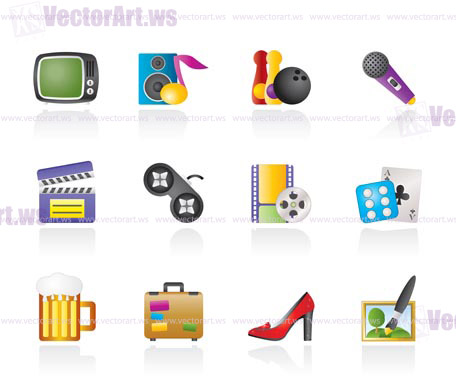 Leisure activity and objects icons - vector icon set