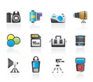 Photography equipment and tools icons - vector icon set