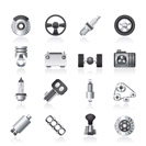 Different kind of car parts icons - vector icon set