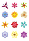 Colourful flower icons set - vector illustration