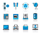 Communication and media icons set - vector illustration