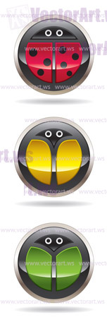 Buttons with ladybug, butterfly and beetle - vector illustration