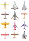 Different airplanes icons set - vector illustration