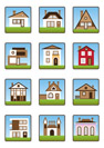 Private houses and homes icons set - vector Illustration