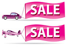 Sale flyer coming by car and airplane - vector illustration