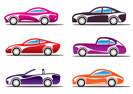 Luxury sport cars silhouettes - vector illustration