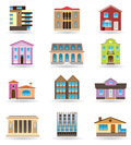 Buildings and houses in different architectural styles - vector illustration