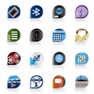 Realistic phone  performance, internet and office icons - vector Icon Set