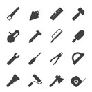Silhouette Construction and Building Tools icons - Vector Icon Set