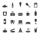 Silhouette Shop and Foods Icons - Vector Icon Set