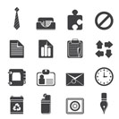 Silhouette Simple Business and Office Icons - Vector Icon Set