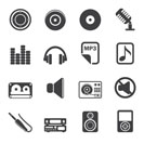 Silhouette Music and sound Icons - Vector Icon Set