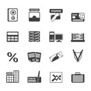 Silhouette bank, business, finance and office icons - vector icon set