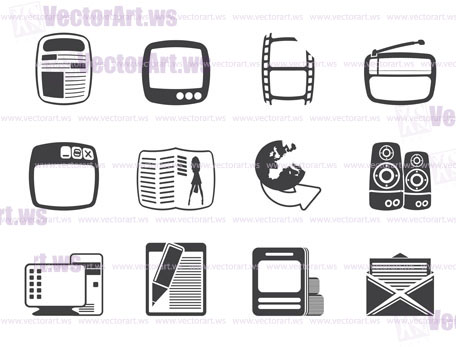 Silhouette Media icons - Vector Icon Set
