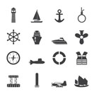Silhouette Simple Marine, Sailing and Sea Icons - Vector Icon Set