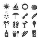 Silhouette Summer and Holiday Icons - Vector Icon Set