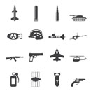 Silhouette Simple weapon, arms and war icons - Vector icon set