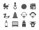 Silhouette Child, Baby and Baby Online Shop Icons - Vector Icon Set