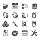 Silhouette Server Side Computer icons - Vector Icon Set