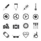Silhouette Simple  medical themed icons and warning-signs - vector Icon Set