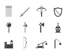 Silhouette medieval arms and objects icons - vector icon set