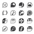 Silhouette Phone Performance, Internet and Office Icons - Vector Icon Set