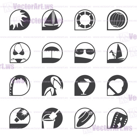 Silhouette Simple Summer and Holiday Icons - Vector Icon Set