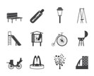 Silhouette Park objects and signs icon - vector icon set
