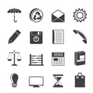 Silhouette Business and Office internet Icons - Vector icon Set