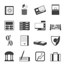 Silhouette bank, business, finance and office icons vector icon set