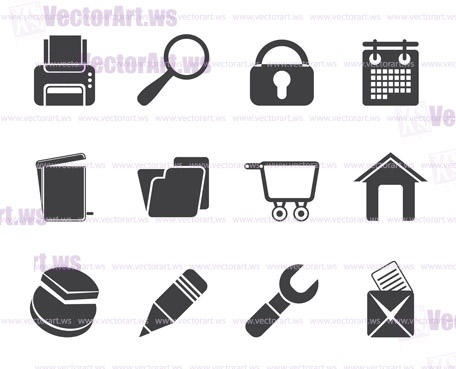 Silhouette website, internet and computer icons - vector icon set