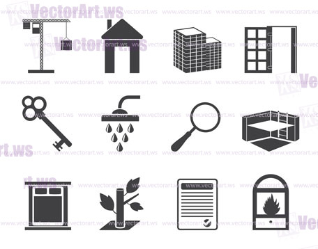 Silhouette Simple Real Estate icons - Vector Icon Set