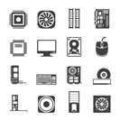Silhouette Computer  performance and equipment icons - vector icon set
