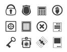 Silhouette Simple Security and Business icons - vector  icon set
