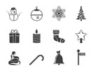 Silhouette Beautiful Christmas And Winter Icons - Vector Icon Set