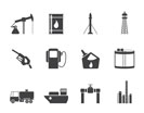 Silhouette Oil and petrol industry icons - vector icon set
