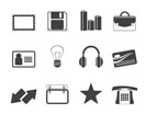 Silhouette Office and business icons - vector icon set