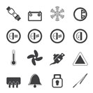 Silhouette Car Dashboard icons -  vector icons set