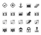 Silhouette Application, Programming, Server and computer icons vector Icon Set 1