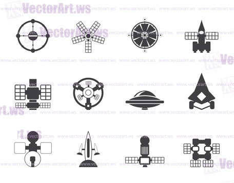 Silhouette different kinds of future spacecraft icons ...